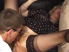 Lewd old maid licked and sucks cock in wild orgy