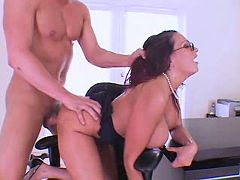 Smashing hot secretary goes horny on working place
