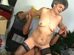 Spoiled granny in stockings hard jumps on big dick