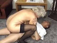Lusty grandma in stockings prefers amateur guy