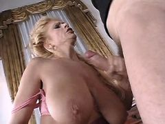 Mature fucks n gets cum on big tits