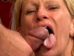 Lewd old slut gets real fuck and cumload in mouth