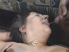 Lusty grannies get cum on pussy and face in group
