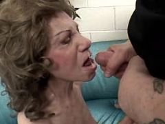 Aged lady sucks fat cock and gets cum in mouth