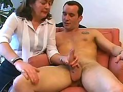 Aged mature sucks cock w pleasure