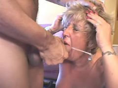Buxom granny gets cum in mouth from latin dude