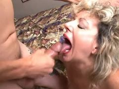 Curly old bitch crazy fucks and gets cum in mouth