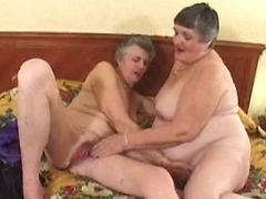 Pervert lesbo grannies have fun with big dildo