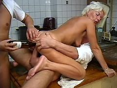 Aged lady fucks and sucks cock in group on tableex
