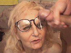 Aged mature gets facial after fuck