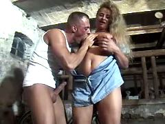 Gorgeous plump blonde fucking brains out in barn