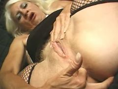 Granny in stockings seduces man and sucks cock