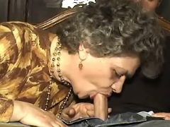 Granny in stockings sucks fresh cock and licked