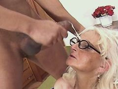Mom serveces two guys n gets facial