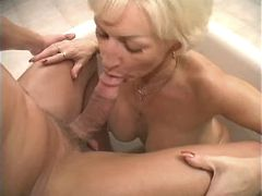 Mature and guy have oral in jacuzzi