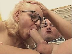 Blonde mom sucks cock with pleasure