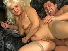 Granny fucked by man in every poses in workshop