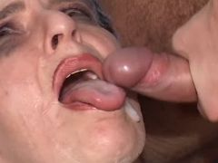 Old woman gets real fuck and cumload in mouth