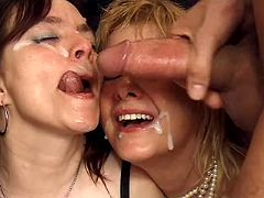Three old mamas getting cum shower after wild orgy