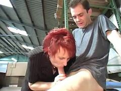 Redhead granny sucks cock and licked by horny guy