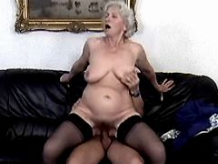 Granny sucking and jumping on dick