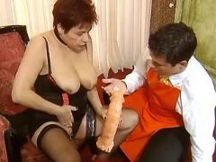 Milf in stockings with didlo seduces amateur guy
