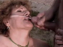 Chubby mom gets facial after orgy