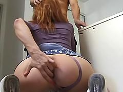 Cutie milf gives blowjob in office
