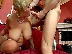 Mom gets cum on big tits after fuck