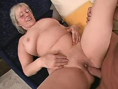Old lady sucks appetizing and hard fucks with guy