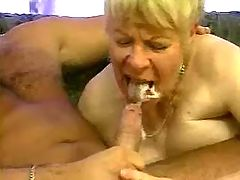 Chubby grandma in stockings eats cum