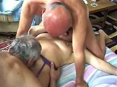 Old men share sexy depraved grandma in stockings