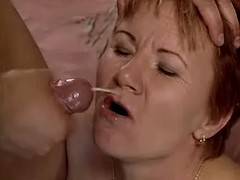 Granny gets facial after hot fuck