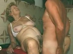 Pervert grandma with hairy pussy fucked by man