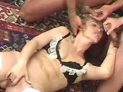 Nice blonde granny gets double cumload in group