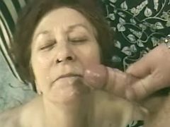 Old lady with hairy pussy gets facial after fuck