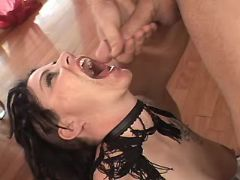 Brunette mature gets real fuckand cum in mouth