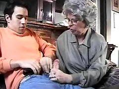 Lusty granny sucks fresh cock of dude