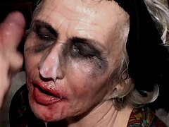 Granny has hot fuck and gets facial